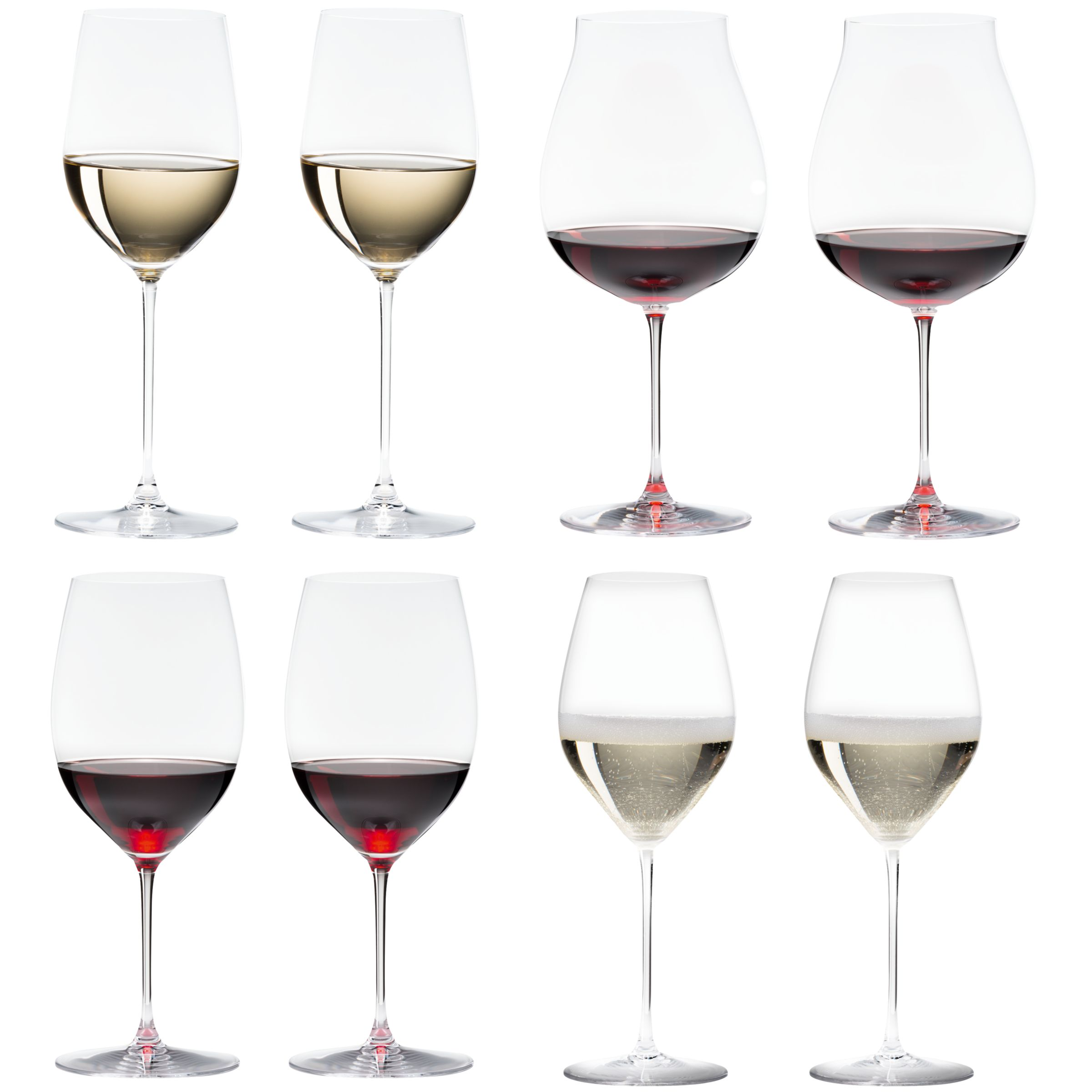 Riedel Riedel Veritas Cabernet / Merlot & New World Pinot Noir & Viognier / Chardonnay & Champagne Glasses, Box of 8