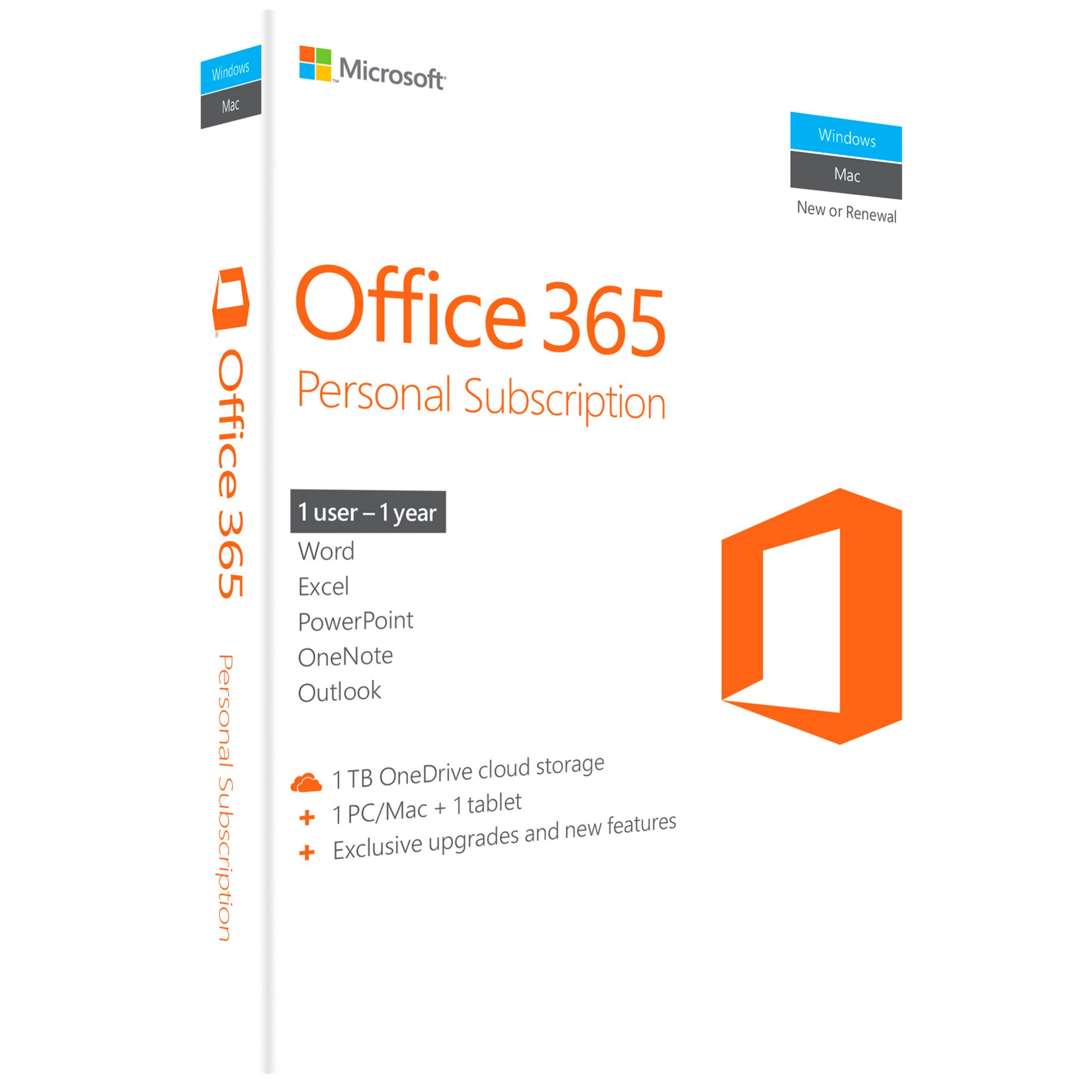 Microsoft Microsoft Office 365 Personal, 1 PC & 1 Tablet, 1 User, One-Year Subscription
