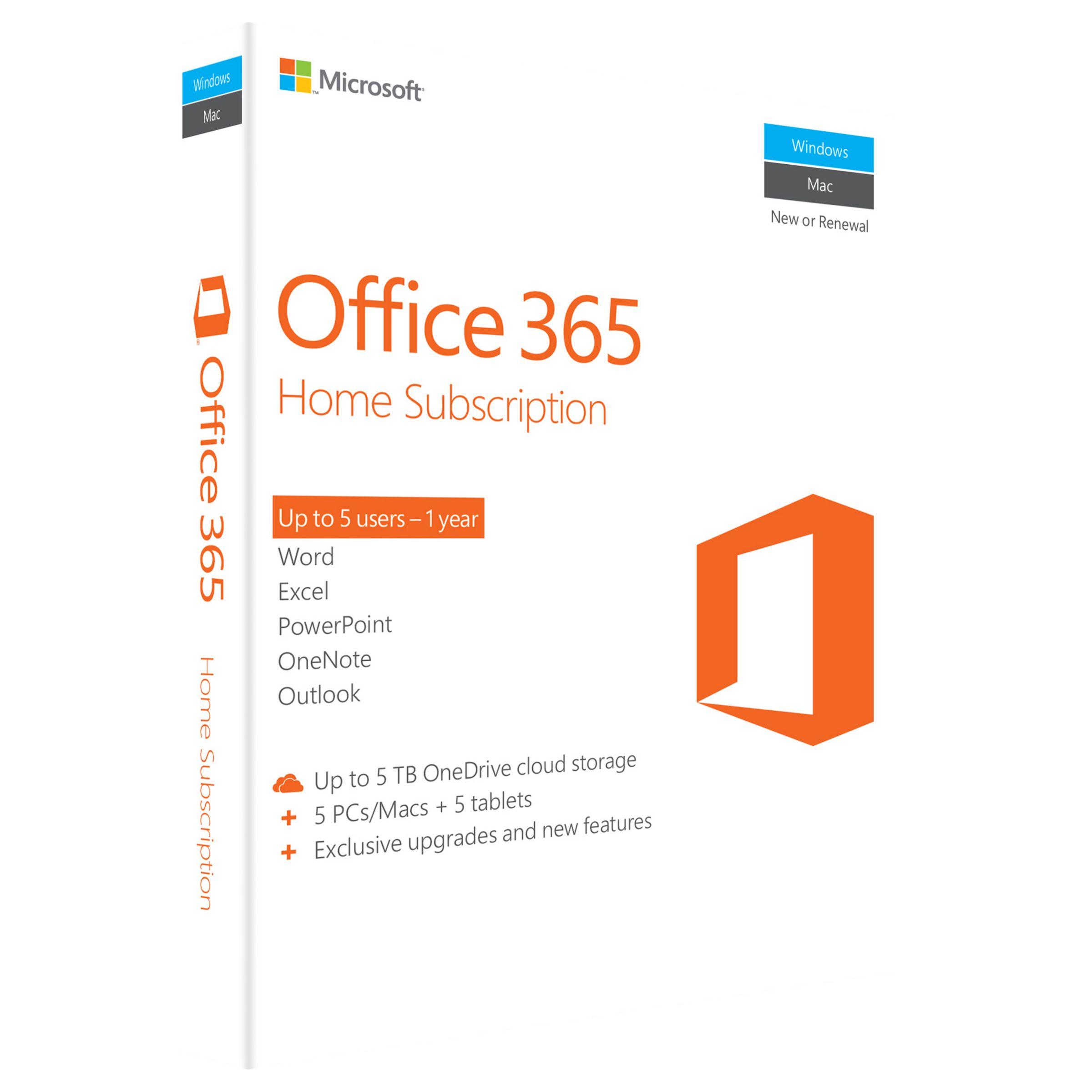 Microsoft Microsoft Office 365 Home Premium, 5 PCs/Macs + Tablet, One-Year Subscription
