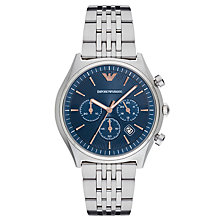 Buy Emporio Armani AR1974 Men's Chronograph Date Bracelet Strap Watch, Silver/Blue Online at johnlewis.com