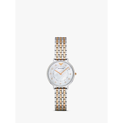 Emporio Armani AR2508 Women's Crystal Two-Tone Bracelet Strap Watch, Silver/Rose Gold