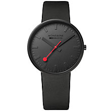 Buy Mondaine A660.30328.64SBO Unisex Evo Giant Leather Strap Watch, Black Online at johnlewis.com