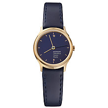 Buy Mondaine MH1.L1141.LD Unisex Helvetica Leather Strap Watch, Navy Online at johnlewis.com
