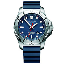 Buy Victorinox 241734 Men's I.N.O.X Diver Rubber Strap Watch, Blue Online at johnlewis.com
