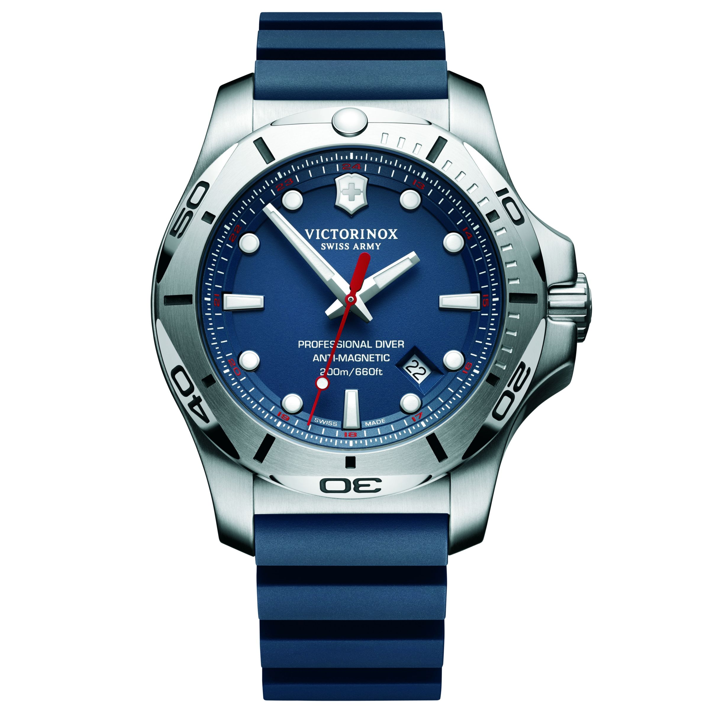 Victorinox Victorinox 241734 Men's I.N.O.X Diver Rubber Strap Watch, Blue