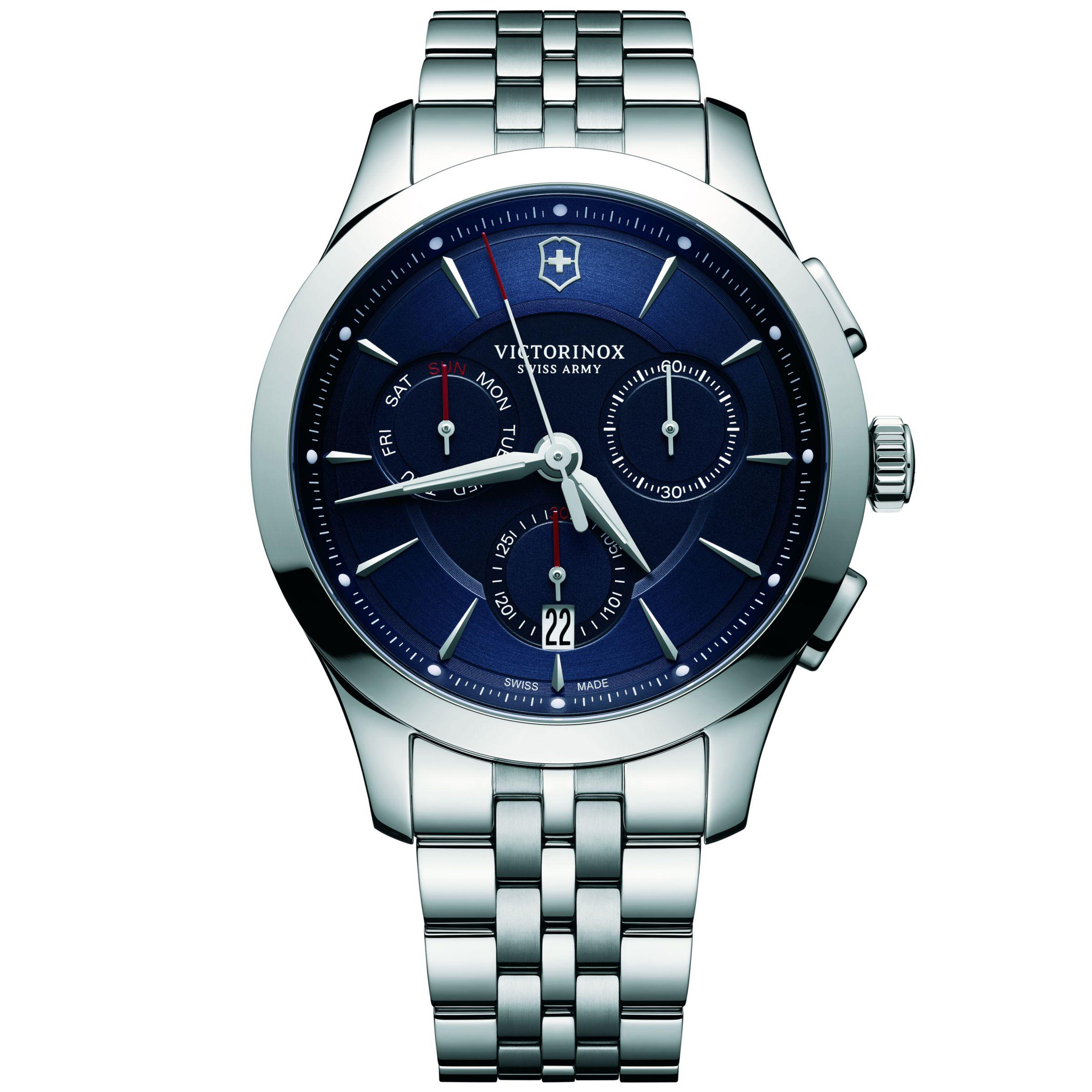 Victorinox Victorinox 241746 Men's Alliance Chronograph Day Date Bracelet Strap Watch, Silver/Blue
