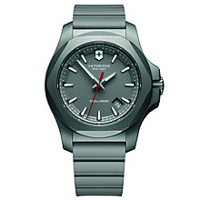Buy Victorinox 241757 Men's I.N.O.X Titanium Date Rubber Strap Watch, Grey Online at johnlewis.com