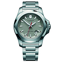 Buy Victorinox 241739 Men's I.N.O.X Date Bracelet Strap Watch, Silver Online at johnlewis.com