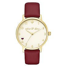 Buy kate spade new york KSW1188 Women's Metro Leather Strap Watch, Burgundy/Cream Online at johnlewis.com