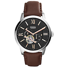 Buy Fossil Men's Townsman Skeleton Automatic Leather Strap Watch Online at johnlewis.com