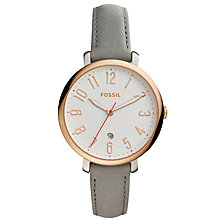 Buy Fossil ES4032 Women's Jacqueline Date Leather Strap Watch, Grey/White Online at johnlewis.com
