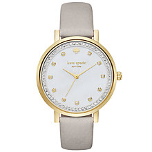 Buy kate spade new york KSW1131 Women's Monterey Leather Strap Watch, Grey/White Online at johnlewis.com