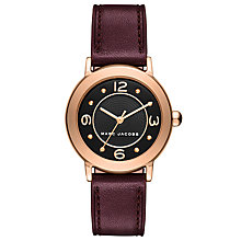 Buy Marc Jacobs MJ1474 Women's Mini Riley Leather Strap Watch, Burgundy/Black Online at johnlewis.com
