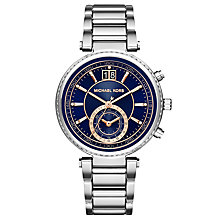 Buy Michael Kors MK6224 Women's Sawyer Chronograph Date Bracelet Strap Watch, Silver/Navy Online at johnlewis.com