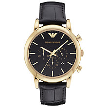 Buy Emporio Armani AR1917 Men's Chronograph Date Leather Strap Watch, Black Online at johnlewis.com