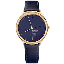 Buy Mondaine MH1.L2241.LD Women's Helvetica Date Leather Strap Watch, Navy Online at johnlewis.com