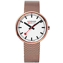Buy Mondaine A763.30362.22SBM Unisex Mini Giant Mesh Bracelet Strap Watch, Rose Gold/White Online at johnlewis.com