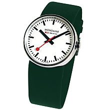 Buy Mondaine A6583030611JLSET Unisex Evo Bold Leather Strap Watch, Dark Green/White Online at johnlewis.com