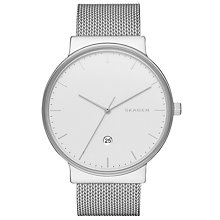 Buy Skagen SKW6290 Men's Ancher Date Bracelet Strap Watch, Silver/White Online at johnlewis.com