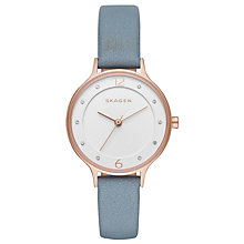 Buy Skagen SKW2497 Women's Anita Crystal Leather Strap Watch, Pale Blue/White Online at johnlewis.com