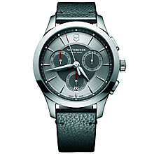 Buy Victorinox 241748 Men's Alliance Chronograph Day Date Leather Strap Watch, Black/Silver Online at johnlewis.com