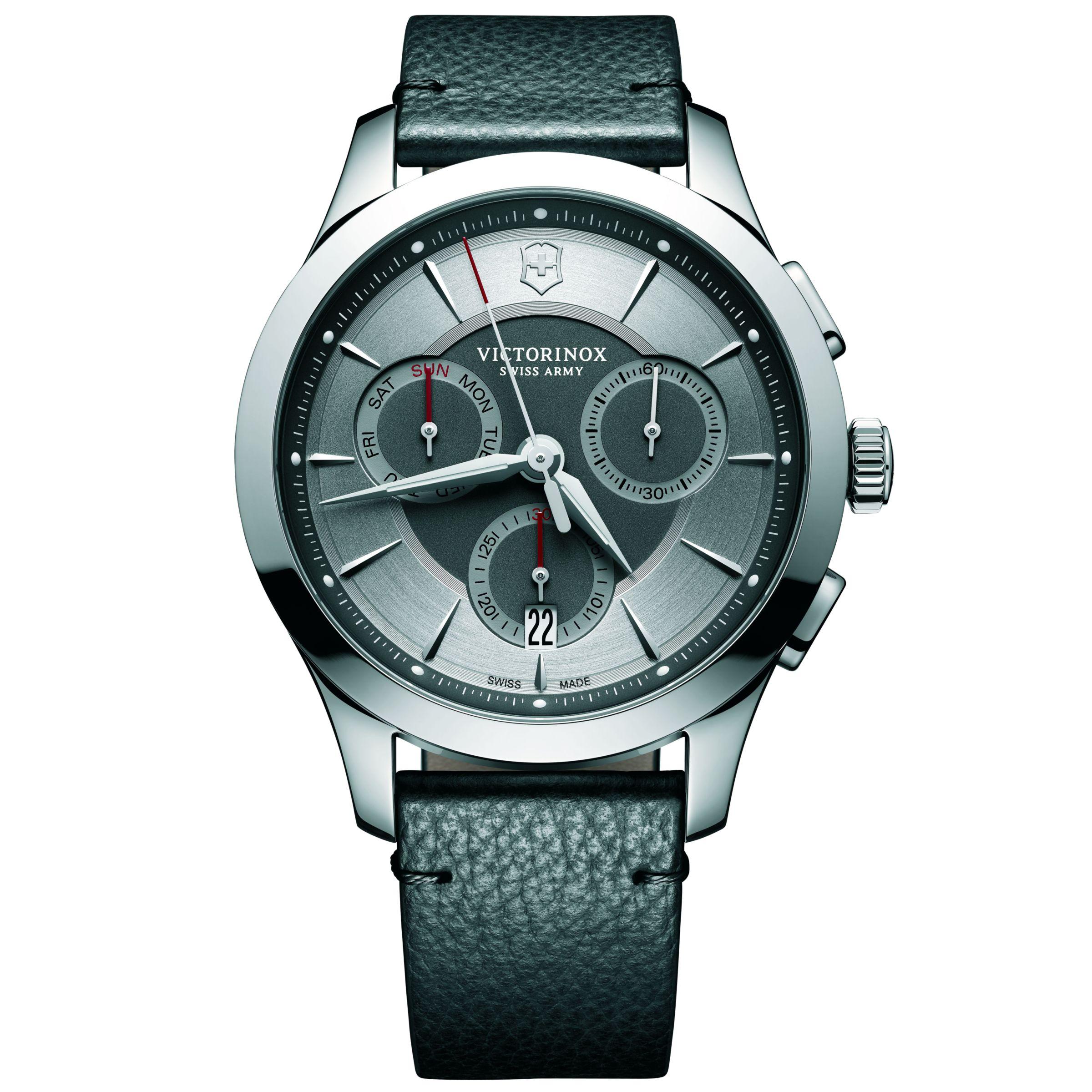 Victorinox Victorinox 241748 Men's Alliance Chronograph Day Date Leather Strap Watch, Black/Silver