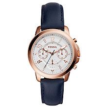 Buy Fossil ES4040 Women's Gwynn Chronograph Crystal Leather Strap Watch, Navy/White Online at johnlewis.com