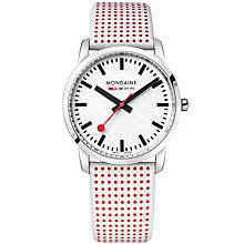 Buy Mondaine A400.30351.11SBA Unisex Simply Elegant Leather Strap Watch, White/Red Online at johnlewis.com