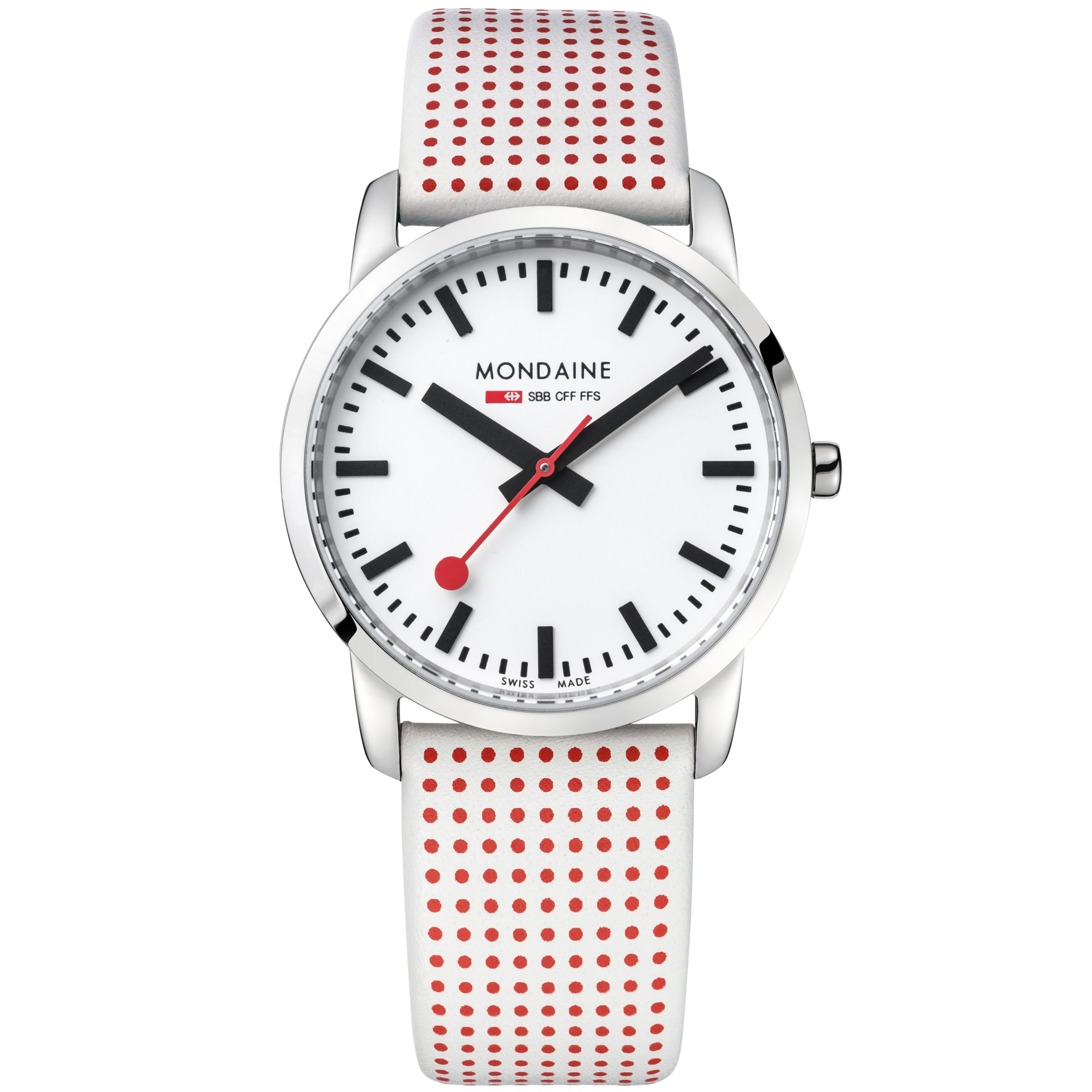 Mondaine Mondaine A400.30351.11SBA Unisex Simply Elegant Leather Strap Watch, White/Red