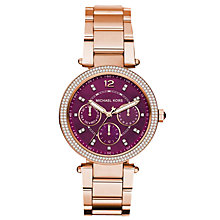 Buy Michael Kors MK6403 Mini Parker Single Chronograph Crystal Bracelet Strap Watch, Rose Gold/Magenta Online at johnlewis.com