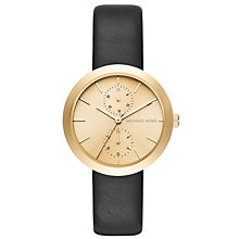 Buy Michael Kors MK2574 Women's Garner Single Chrongraph Leather Strap Watch, Black/Gold Online at johnlewis.com