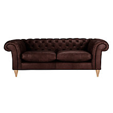 Buy John Lewis Cromwell Chesterfield Leather 4 Seater Sofa, Light Leg Online at johnlewis.com