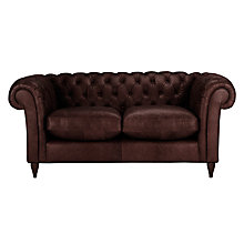Buy John Lewis Cromwell Chesterfield Small Leather Sofa, Dark Leg Online at johnlewis.com