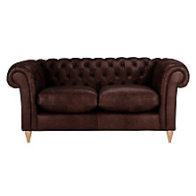 Buy John Lewis Cromwell Chesterfield Leather Small 2 Seater Sofa, Light Leg Online at johnlewis.com