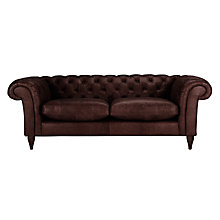 Buy John Lewis Cromwell Chesterfield Leather 4 Seater Sofa, Dark Leg Online at johnlewis.com