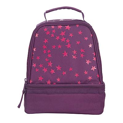 John Lewis Stars Print School Lunchbox, Purple/Pink