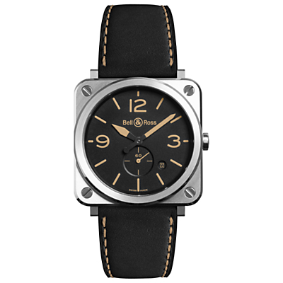 Bell & Ross BRS-HERI-ST/SCA Unisex BRS Heritage Date Leather Strap Watch, Black