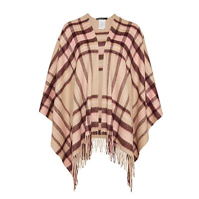 Marc Cain Check Wool Cape, Sahara