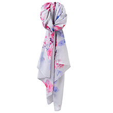 Buy Joules Wensley Stripe and Floral Print Scarf, Pale Grey/Multi Online at johnlewis.com