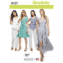 Buy Simplicity Women's Tops and Dresses Sewing Pattern, 8137 Online at johnlewis.com