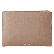 Buy Whistles Matte Croc Leather Medium Clutch Bag, Grey Online at johnlewis.com