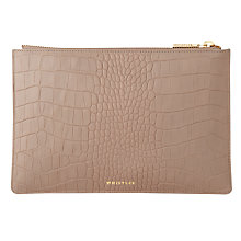 Buy Whistles Matte Croc Leather Small Clutch Bag, Grey Online at johnlewis.com
