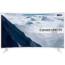 "Buy Samsung UE49KU6510 Curved HDR 4K Ultra HD Smart TV, 49"" with Freeview HD/Freesat HD, Playstation Now + Bluetooth Soundbar & Subwoofer, Silver Online at johnlewis.com"