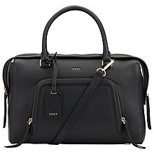 Buy DKNY Chelsea Vintage Leather Large Messenger Bag, Black Online at johnlewis.com