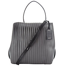 Buy DKNY Calf Leather Bucket Bag, Charcoal Online at johnlewis.com