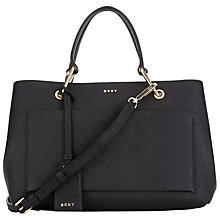 Buy DKNY Bryant Park Saffiano Leather Satchel, Black Online at johnlewis.com