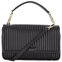 Buy DKNY Gansvoort Leather Flap Shoulder Bag, Black Online at johnlewis.com