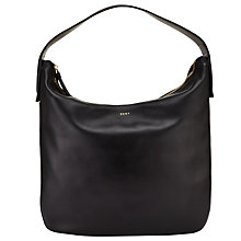 Buy DKNY Greenwich Smooth Leather Hobo Bag, Black Online at johnlewis.com