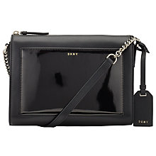 Buy DKNY Patent Leather Chain Strap Across Body Bag, Black Online at johnlewis.com
