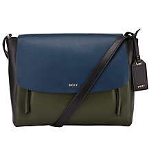 Buy DKNY Greenwich Smooth Leather Small Messenger Bag, Navy / Absynthe Online at johnlewis.com